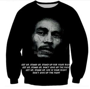 Schwarz New Fashion Bob Marley Druck 3D Unisex Damen / Herren Pullover Oberbekleidung Sweatshirt Hip Hop Pullover Kleidung B487