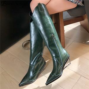 Buono SCARPE из натуральной кожи колено высокие сапоги женщин Остроконечные Toe клинья обувь Женские западные прозрачные каблуки Длинные Botas Fenimina