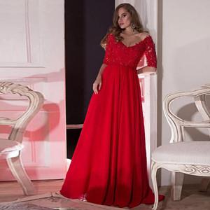 Стильный красный-line мать жениха платья Sheer шеи Половина рукава аппликации плиссировка свадьба гость платье атласные длинные платья выпускного вечера