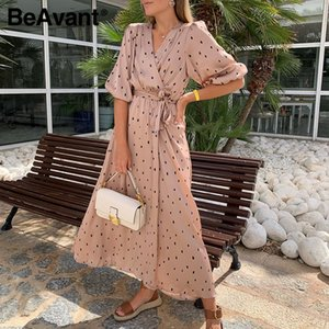 BeAvant Elegant Party Club Stain Long Dress Women 2020 half sleeve Polka dot vintage dress maxi ladies a line v образным вырезом sexy dress T200623