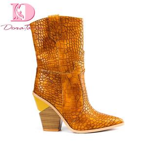 Doratasia 2019 Ins sıcak tarzı artı boyutu 33-46 tıknaz topuklu kadın ayakkabı orta buzağı botlar kadın ayakkabı batı çizmeler