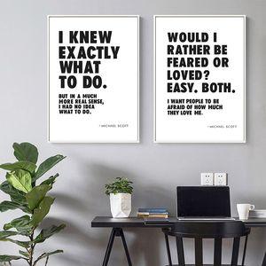 Engraçado TV Show Quotes Posters e impressões de escritório Wall Art Decor Michael ScoOffice Citar Pintura Preto Branco Tipografia Canvas