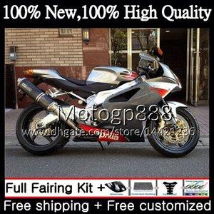 Инъекции для Aprilia Mille серебристо-черный RSV1000 09 10 11 12 13 14 15 3PG4 RSV 1000R RSV1000R 2009 2010 2011 2012 2015 обтекатель кузова