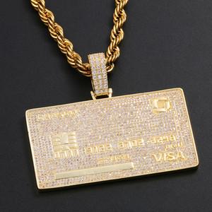 Collar de tarjeta de crédito personalizado de oro de 18 K colgante con cadena de cuerda para hombre Bling Hip Hop joyería regalo