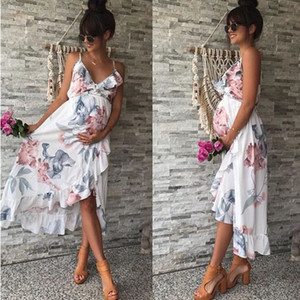 2019 Summer Women's Loose Irregular Florals Ruffles Slip Maternity Dress Pregnant Woman Long Dress C4771