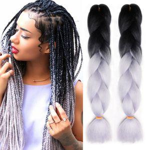 Ombre Xpression cabelo trança Two Tone Jumbo Synthetic Crochet Tranças extensões do cabelo 24 polegadas Caixa Braid 100% Kanekalon tranças