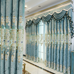 European Modern Embroidery Chenille Shading Curtains for Living Dining Room Bedroom.