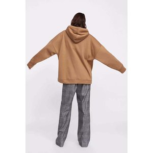Wholesale-hoodies women harajuku cotton hoodies solid patchwork pockets regular oversize sweatshirt plus size tops