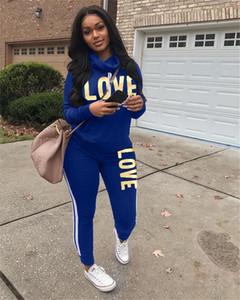 Moda-Love 2 piezas para mujer chándales la manga larga de cuello de la capucha letras impresas de las señoras ropa de deporte casual relajado Ropa para Mujer