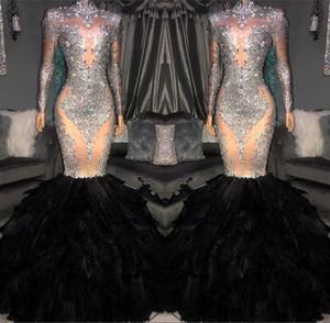 Illusion Mermaid Gelinlik Modelleri 2019 Sheer Uzun Kollu Yüksek Boyun Dantel Aplike Boncuklu Tüy Kat Uzunluk Örgün Parti Abiye giyim BC1265