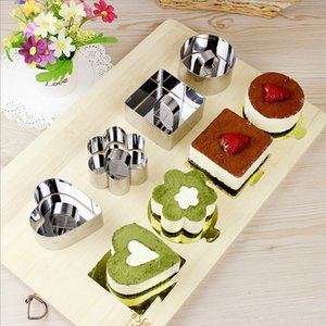 Backformen Mini-Mousse-Kuchen-Form Edelstahl-Quadrat-Runde Herzform Kuchen Mousse-Form-Mousse Ring Kitchen Tools XD22985