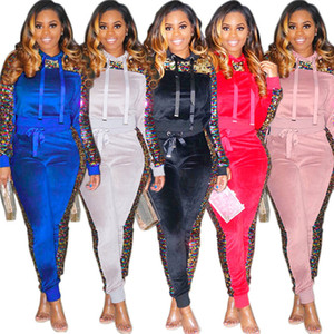 Femmes sirène paillettes Survêtement à manches longues Patchwork Hoodies Sweatshirt + Pantalon 2 PCS Ensemble Mesdames Velvet Outfit Mode Top Pantalon Survêtement