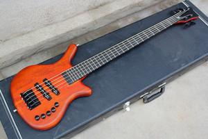 팩토리 오렌지 5 현 일렉트릭베이스 기타, 흑단 지판, 검은 색 하드웨어, 목 관통 체, 능동 회로, 맞춤식 제공