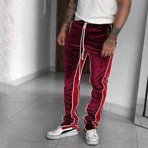 Mens Velvet track pants Elastic waist streetwear velour ankle zip trousers fear of god fog