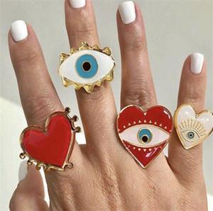 New Gold regolabile cuore rosso dell'occhio diabolico di modo squilla per le donne femminile sveglio popolare Male T471 Amore Eye Heart Gold Anello