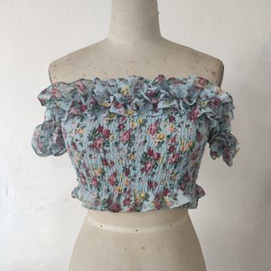 Shirred top blouse chiffon flower printed ruffle frill off shoulder sexy new design fashion top real picture