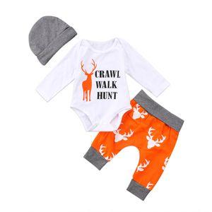 2017 Christmas Cute Newborn Kids Baby Boys Girls Long Sleeves Romper Deer Pants Hat Outfits Set Clothes Xmas 3Pcs