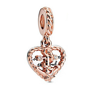 Top quality 2020 New Summer Charm bead 925 Sterling Silver Rope Heart & Love Anchor Dangle Charms fit Beads Bracelets Women DIY Fine Jewelry