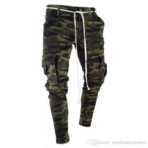 Bolsos grandes Striped Zipper Slim Design Jean Pants Mens Camouflage Lápis Designer Jeans Moda