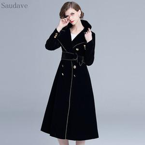 Yeni Kış İngiltere Stil Kadın Coat Siyah Kadife Coat Kalın Uzun Şık Vintage Kadın Elbise Coats Kadınlar Vestido Isınma
