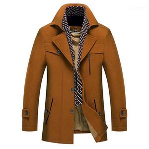 Kasetli Erkek Şal Yaka Coat Moda Düğme Dekorasyon Homme Kış Palto Tasarımcı Erkek Kalın Yün Palto Katı