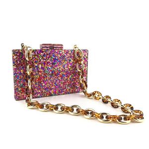 Catena del sacchetto di sera della frizione di modo del partito di sera Donne OCARDIAN borse di lusso Crossbody Borse di cucitura geometriche Color Box
