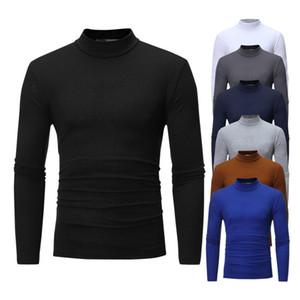 حديثا ملابس الرجال 2019 لفة الرقبة كم طويل عالية الجودة القطن أعلى الرقبة ملابس داخلية ملابس النوم