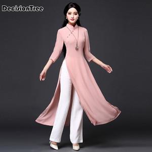 2019 Vietnam Ao dai qipao robe traditionnelle qipao cheongsam Robes coton lin Robe 2 pièces Aodai Chinoise Suit