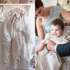 Küçük Bebek Kızlar Için Vaftiz Önlükler Boncuk Aplike Bonnet Ile Overskirts Vaftiz Elbiseler Dantel Çiçek Kız İlk Iletişim Elbise