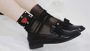 Moda Kadınlar fırfır File Bilek Yüksek Çorap Mesh Dantel Balık Net Kısa Çorap Aşk Gül Nakış İnce Sokken