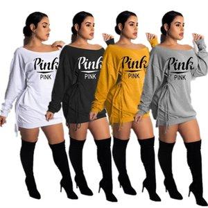 Lettre Mode Femmes Imprimer Robe Lacets manches longues T-shirt Robes Off Shouler monoblocs JUPE Printemps Automne Conception Tenues Vêtements