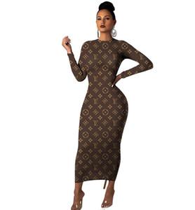 Robe européenne et lettre de corps de femmes américaines de mode casual robe manches longues robe sexy Slim nouveau gros