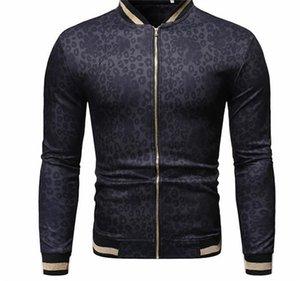 Mens Leopard Impreso Primavera Stand de diseño chaqueta de cuello con cremallera Sobrepasa Males Delgado capas de la moda casual