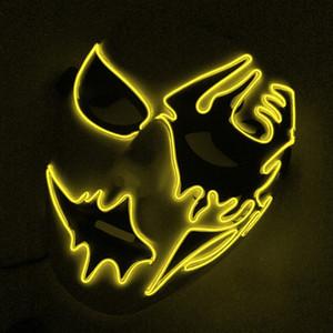 EL Led Maske Cadılar Bayramı Partisi Maske Masquerade Maskeleri Neon Maskeleri Işık Glow Karanlık Maskara Korku Maskesi Parlayan Mask ...