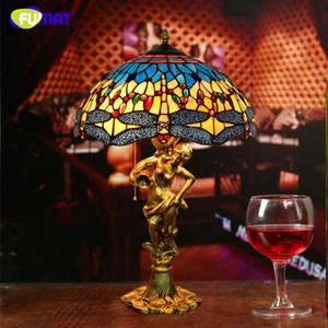 FUMAT estilo europeo de la libélula cortina de lámpara de mesa decoración arte del vitral Tabla de luces de la sala de estar Mesita de luz de la lámpara LED