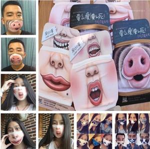 Boca divertida máscara linda dientes del polvo anti divertida la boca de algodón máscara de cara de dibujos animados Emotiction Máscara reutilizable lavable manera de la boca mask1