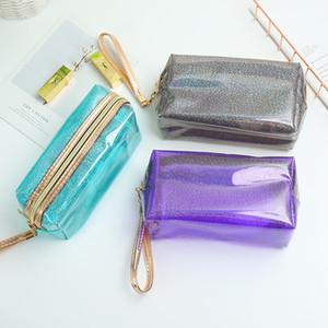 Четкие водонепроницаемый макияж сумки Мода женщин лазерная Прозрачные сумки Блестки Косметическая сумка для путешествий для хранения большой емкости HHA1190