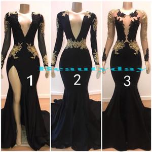 Sirena Vestidos de baile 2019 Vestidos de noche modestos Vestidos de manga larga Fiesta Negro Pareja Día Más el tamaño A-line 2K19 Barato vestido de novia