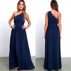 Дешевые темные темно-синие платья подружки невесты на одно плечо 2019 Weddings A Line Pleats длиной до пола, вечернее платье до $ 70 bm0241