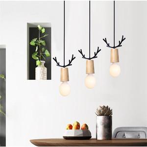 Nordic Creative restaurant coréen mignon pendentif Lumières Elk Chambre Enfants Corne Salle à manger Chambre Salon LED Chambre Lampes Décor Fixture