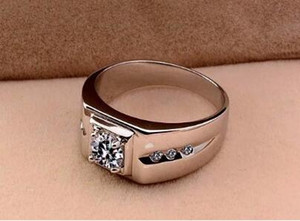 White copper plated silver diamond ring European and American men's domineering wedding ring birthday gift