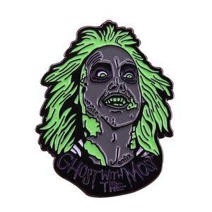 Beetlejuice Emaille Pin Retro 80er Jahre Horror Comedy Film Brosche Chill Ghost Abzeichen Halloween Geschenk