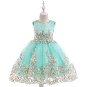 Розничная Аппликации Принцесса Девушки День Рождения Вечернее Платье Платье Благородный Элегантный Золотая Линия Девушки Свадебное Платье С Поясами L9029 J190514