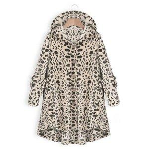 Одежда Нового Leopard Мода куртка Повседневного Сыпучий капюшон однобортного пальто Женского Vestidoes Плюс Размер Женщина