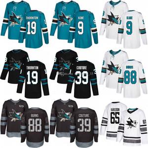 Personalizzato San Jose Sharks Jersey 65 Karlsson 88 Brent Burns 9 Evander Kane 19 Thornton 39 Couture USA Moda hockey jerseys Uomini Donne Giovani