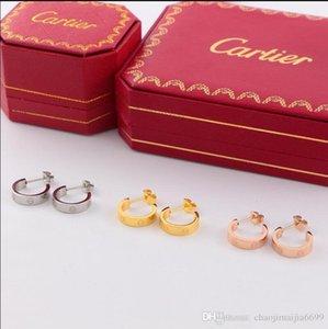 2020 nuovo caldoCartier Cuore Rose Gold Titanio Acciaio Orecchini Stereo Love Letter orecchini cuore Orecchini con la scatola originale