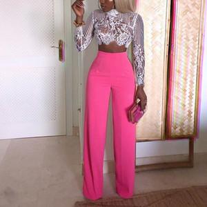 ZOGAA Mulheres calças perna larga Casual Sólidos cintura alta calças retas de comprimento feminino solto Calças completa Vestido Vestuário Womens