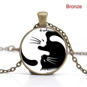 New Style Women Unique Tai Chi Cat Pendant Necklace Lady Black White Simple Necklace