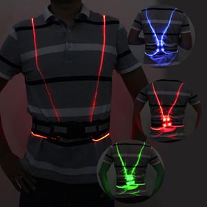Universale unisex angelo ala Visibilità fibra LED di sicurezza notte ottica in esecuzione Andare in bicicletta della maglia di colore luminoso riflettente gilet