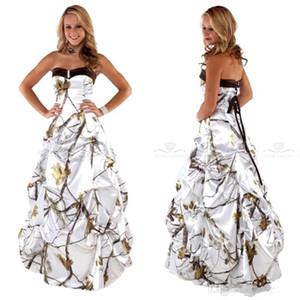 Chérie Drapé blanc Camo robes de mariée jupe de satin Robes de mariée lacé dans le dos Custom Plus Taille Camouflage Vestidos BC2426
